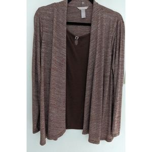White Stag Brown Cardigan Top Long Sleeve Large